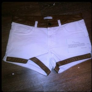 Pants - White jean shorts with leather trim